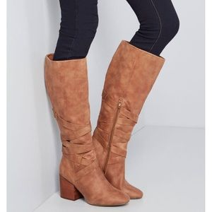 { Report } Tan Block Heel Strappy Knee High Boots